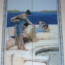 "Women by the Sea Ceramic Tile Mural 6 of 8""x8"" Porcelain Floor Tiles Kiln Fired"