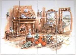 "Old Hearth Ceramic Tile Biscuit color Kiln Fired 4.25"" 12 piece Mural Decor"