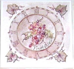"CLOSEOUT Pinot Grape Grapes Ceramic Tile 4.25"" Flower Kiln Fired Back Splash Accent Decor"