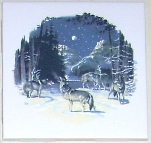 """Closeout Howling Wolves Wolf Ceramic Tile Accent 4.25"""" Kiln fired Decor"""