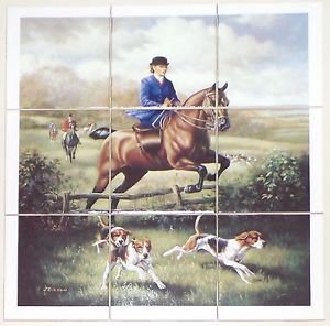 "Lady Fox Hunt Ceramic Tile Mural 9 pcs 4.25"" Kiln Fired Equestrian Horse Decor"