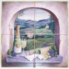 "Vineyard Window Ceramic Tiles Mural  12"" x 12"" Kiln fired Back Splash Mural"