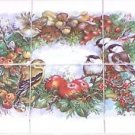 "Chickadee Song Bird Ceramic Tile Mural 6pcs 4.25""   Kiln Fired Decor"