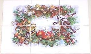 "Chickadee Song Bird Ceramic Tile Mural 6pcs 4.25""   Kiln Fired Decor"