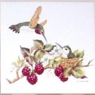 "Humming Bird with Baby Ceramic Tile 4.25"" Hummingbird Berries Kiln Fired"