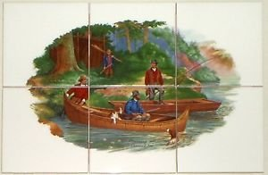 "Closeout Currier & Ives Fishing Biscuit Color Ceramic Tile Mural 6pcs 4.25"" Kiln Fired"