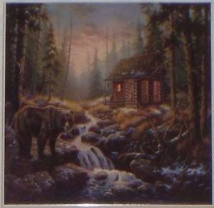 "Bear Cabin Ceramic tile 6"" x 6"" kiln fired back splash decor"