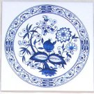 "Blue Onion Ceramic Tile 4.25"" Kiln Fired Decor Mottles Murals Ceramic Tiles"