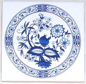 """Blue Onion Ceramic Tile 4.25"""" Kiln Fired Decor Mottles Murals Ceramic Tiles"""
