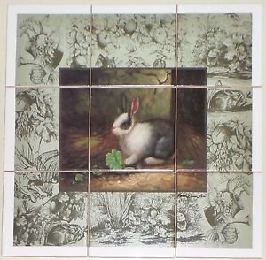 """Closeout Black & White Rabbit Ceramic Tile Mural Back Splash 9pcs 4.25"""" Bunny Kiln Fired"""
