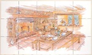 "The Forge Ceramic Tile Mural back splash 15 pcs of 4.25"" Kiln Fired Decor"