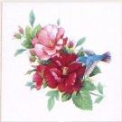 "Blue Hummingbird with Hibiscus Ceramic Tile 6"" X 6"" Kiln Fired Back Splash Decor"