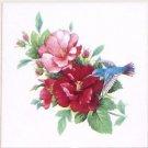 "Blue Hummingbird with Hibiscus Ceramic Tile 6"" X 6"" Kiln Fired Back Splash Decor"