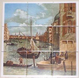 """Italy Venice  9pc 4.25"""" x 4.25"""" Ceramic Tile Mural Back Splash Decor #4"""