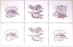 "CLOSEOUT Sea Shell Ceramic Tile Mural Accents 6pcs 4.25"" Kiln Fired Back Splash Gray Pink"