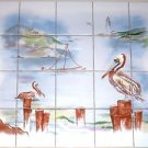 "Pelican Ceramic Tile Mural Back Splash Sea Bird Beach 20pcs 4.25"" Kiln Fired"