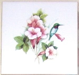 "HUMMINGBIRD W PINK TRUMPET Bird Ceramic Tile Accent 4.25"" Kiln fired Decor"