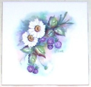 "Daisy Daisies & Berries Flowers 4.25"" x 4.25"" Kiln Fired Ceramic Tile Decor"