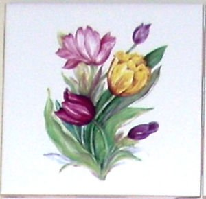 "Colorful Tulip Flower Ceramic Tile 4.25"" Pink Yellow Tulip Kiln fired BackSplash"