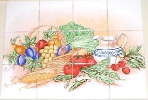 Vegetable w Pitcher & Fruit Kiln Fired Ceramic Tile 12p Mural Back Splash Grapes