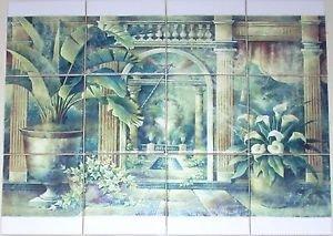 "Closeout Conservatory Ivy Back Splash 12pc 4.25"" Kiln Fired Decor Ceramic Tile Mural"
