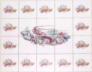 "CLOSEOUT Clam Shrimp Shell Seafood Ceramic Tile Mural 4.25"" Kiln Fired Ceramic Tile"