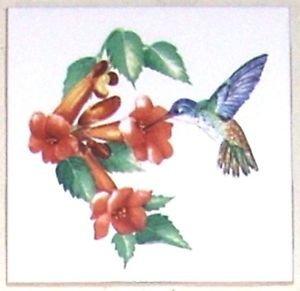 "Hummingbird Orange Trumpet Flowe Bird Ceramic Tile Accent 4.25"" Kiln fired Decor"