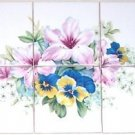 "Pink Lily Ceramic Tile Mural Flower Pansies 6 of  4.25"" Kiln Fired Back splash"