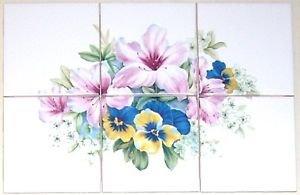 "Closeout Pink Lily Ceramic Tile Mural Flower Pansies 6 of  4.25"" Kiln Fired Back splash"