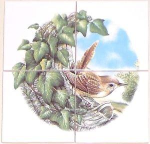 "CLOSEOUT Wren Bird Ceramic Tile Mural 4 pcs 4.25"" Kiln Fired Back Splash Decor"