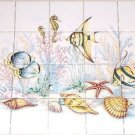 "Under the Sea Ceramic Fish Tile Mural 20 pc 4.25"" Kiln Fired Back Splash"