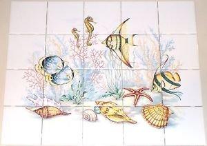"""Under the Sea Ceramic Fish Tile Mural 20 pc 4.25"""" Kiln Fired Back Splash"""