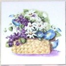 "Closeout Blue Morning Glory and Daisy Flower Basket Ceramic Tile 4.25"" Kiln Fired"