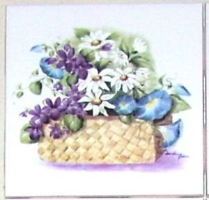 """Closeout Blue Morning Glory and Daisy Flower Basket Ceramic Tile 4.25"""" Kiln Fired"""