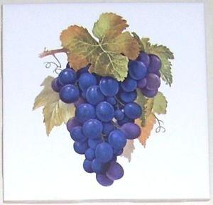 "Closeout Purple Grape Cluster Ceramic Tile 4.25"" Grapes Kiln Fired Back Splash Accent #2"