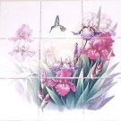"Hummingbird Iris Ceramic 9pc 4.25"" Tile Mural Kiln Fired Decor Back Splash #2"