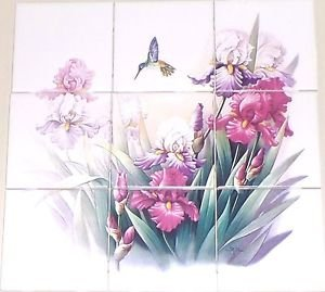 "Hummingbird Iris Ceramic 9pc 4.25"" Tile Mural Kiln Fired Decor Back Splash #2"