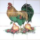 "Rooster with Pears Ceramic Tile Mural Basket  9pcs 4.25"" x 4.25""  Kiln Fired"