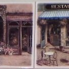 "Bistro Cafe Ceramics Tile Kiln Fired Back Splash Decor 6""x 6"" Set of 2"