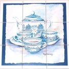 "Closeout Delft Blue Tea Set Ceramic Tile 9pc 4.25"" x 4.25"" Ocean Backsplash Kiln Fired"