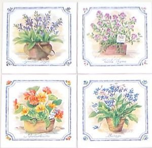 """Herb Ceramic Tile Mural Accents 4 of 4.25"""" Flower Kiln Fired Decor Wall Tiles"""