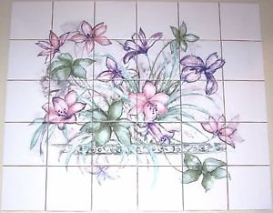"Lavender & Pink Lily Flower 30 Piece Ceramic Tile Mural 4.25"" x 4.25"" Kiln Fired Decor"