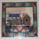 "BEAR Cabin Fever Ceramic Tile Mural Back Splash 9pcs 4.25"" Kiln Fired Biscuit"