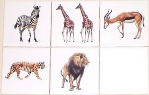 "Safari Animals Lion Zebra Gazelle Tiger Ceramic Tile 5 / 4.25""  Kiln Fired Decor"
