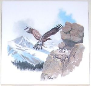 "Hawk Ceramic Tile Mountain Scenery Kiln Fired Ceramic Tile Decor 4.25"""