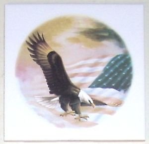"Closeout American Eagle Ceramic Tile Accent 4.25"" X 4.25"" Kiln Fired Back Splash Tiles"