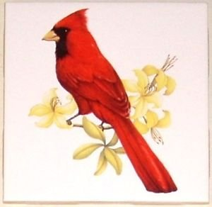 """Cardinal Song Bird with yellow flowers Ceramic Tile 4.25"""" Kiln Fired Accent"""