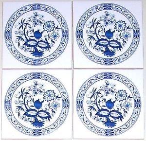 "Blue Onion Ceramic Tile set of 4 of 4.25"" x 4.25"" Kiln Fired Back Splash Decor"