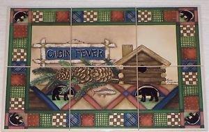 "BEAR Cabin Fever Ceramic Tile Mural Back Splash 6pcs 6"" x 6"""" Kiln Fired Biscuit"