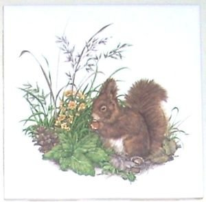 "Closeout Brown Squirrel Ceramic Tile 4.25"" Kiln Fired Wild Life Decor"